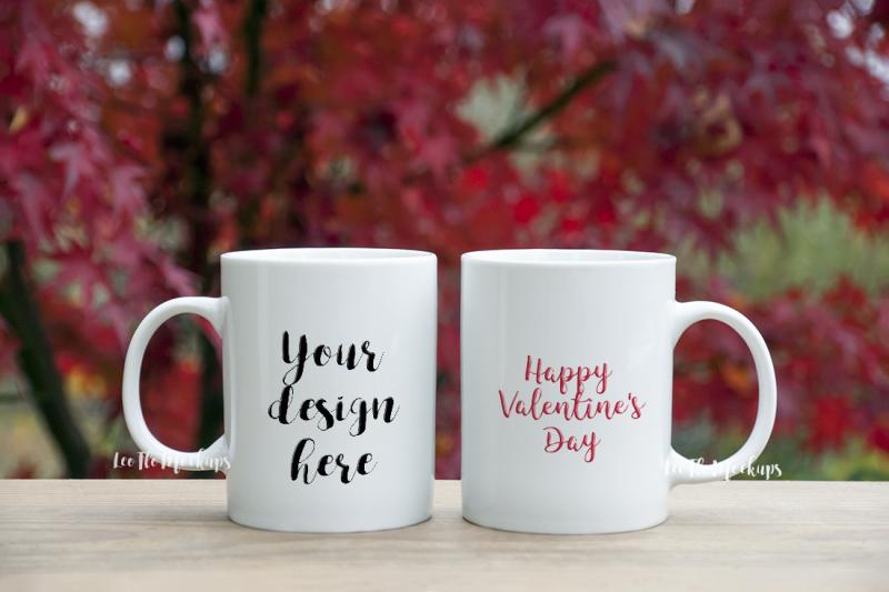 Free 2 White mug mock up valentine's day romantic background nature, coffee mug mockup (PSD Mockups)