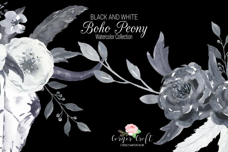 watercolor-boho-peony-black-and-white