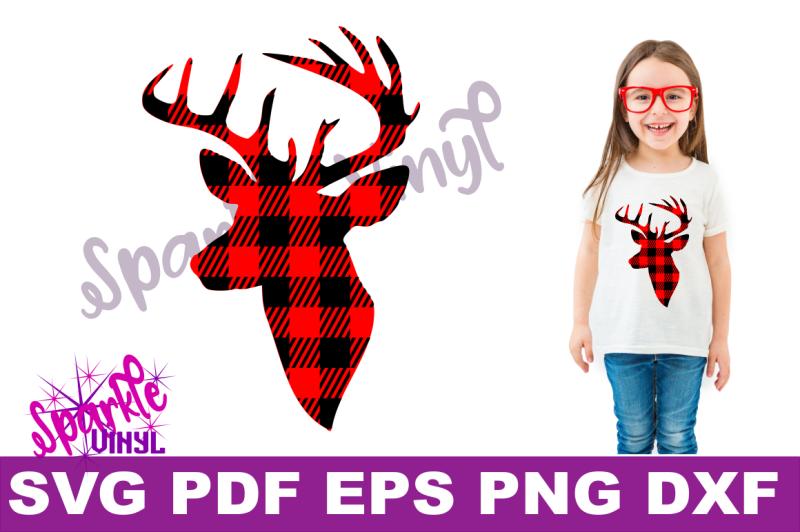 Buffalo Plaid Reindeer Deer Head Silhouette Printable Svg