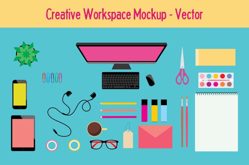 Free Workspace Mockup / Vector Icons (PSD Mockups)