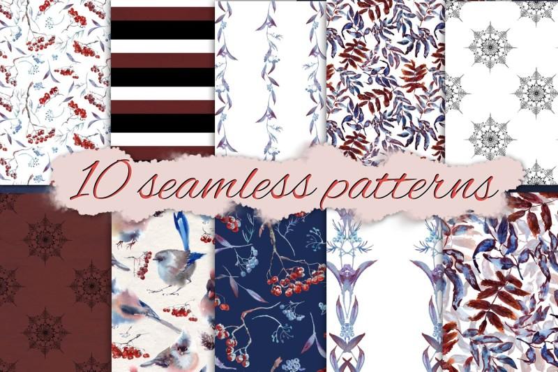 set-of-snowy-seamless-patterns