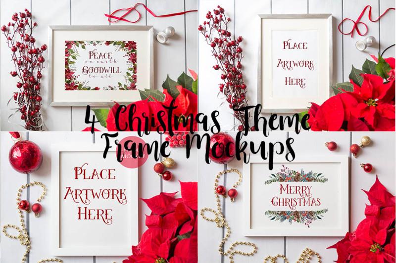 Free 4 Christmas Frame Mockups - red (PSD Mockups)