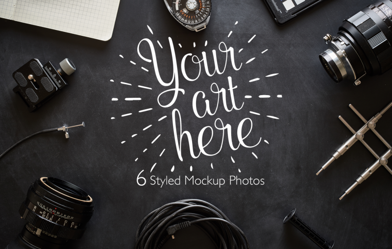 Free Photographer's Desk (PSD Mockups)