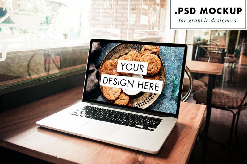 Free PSD laptop in a bar mockup (PSD Mockups)