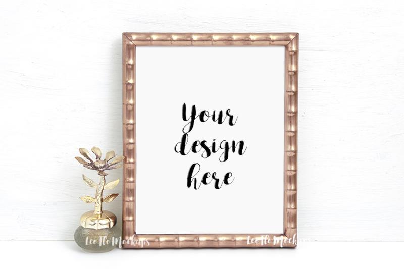 Free Gold vintage rustic mock up golden picture frame 8x10 (PSD Mockups)