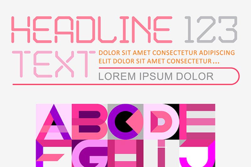 Free Geometric Font Design vector template (PSD Mockups)