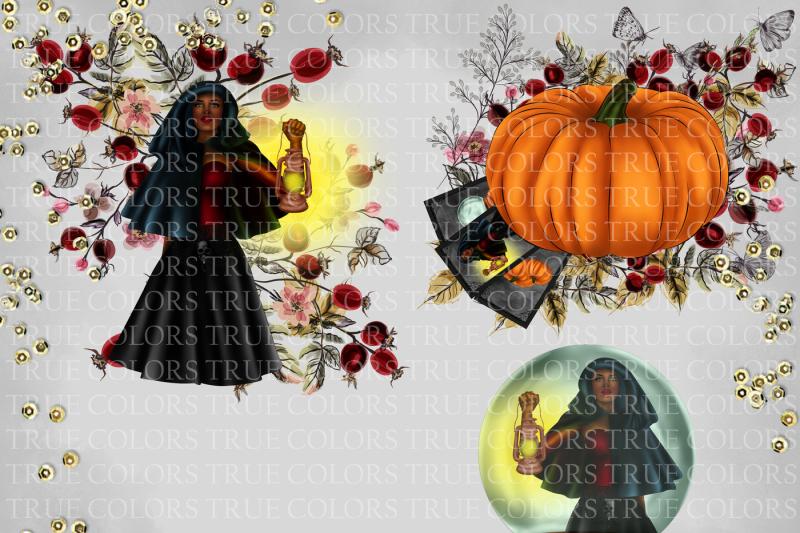 halloween-clip-art-witch-clip-art-pumpkin-clipart-crystal-ball-clipart-halloween-tarot-afro-american-clipart-african-witch-clip-art-lantern