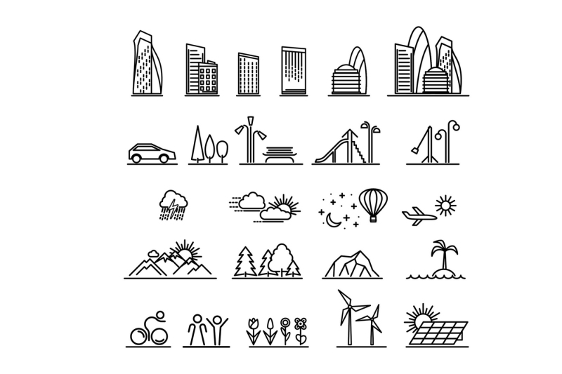 city-line-icons-collection