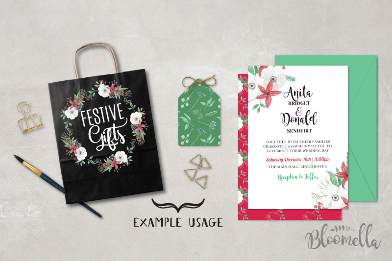 festive-christmas-watercolor-package-53-pieces-png-files-hand-painted-collection-wreaths-elements-patterns-frames-bouquets