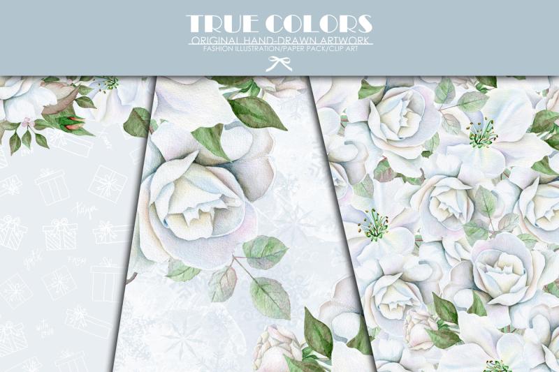 christmas-digital-paper-pack-white-christmas-paper-pack-white-roses-watercolor-roses-paper-pack-roses-wreath-pack-christmas-white-rose-buds