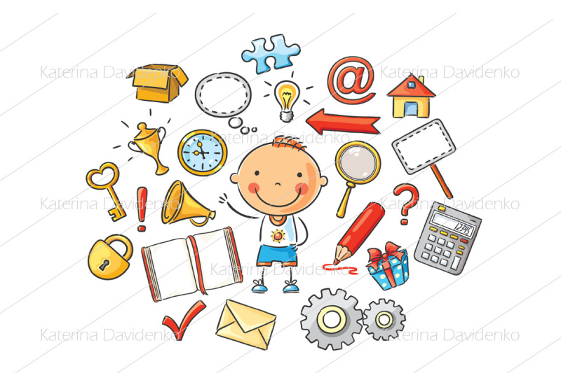 cartoon-child-with-different-objects-and-symbols