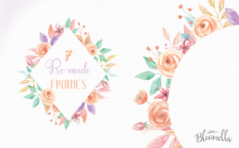watercolor-7-frames-peach-flower-floral-spring-summer-wedding-clipart-borders