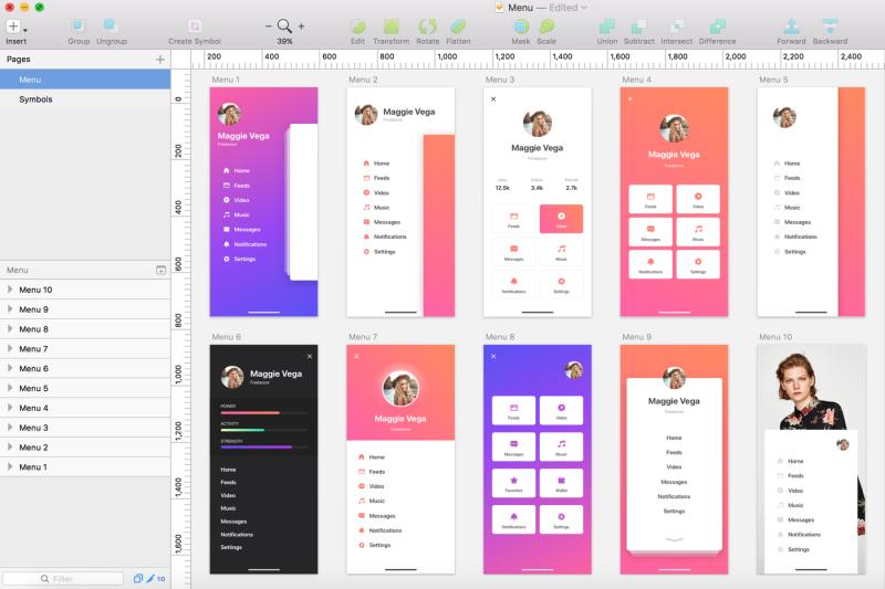 menu-mobile-ui-kit-for-iphone-x