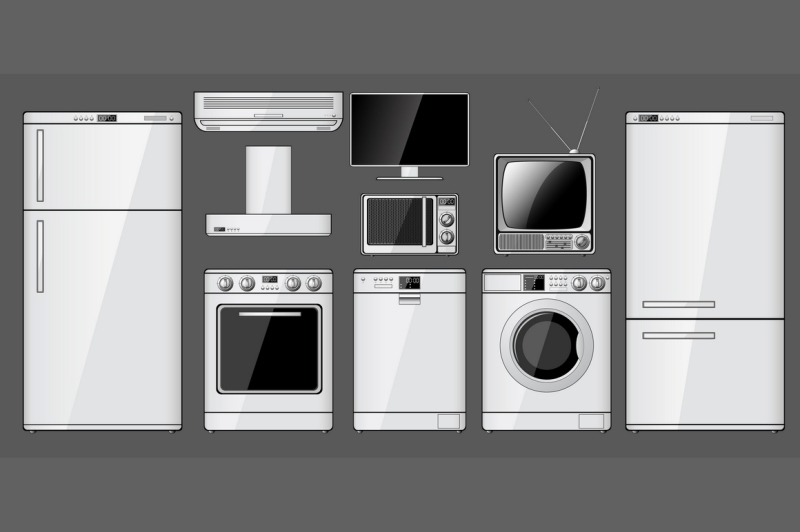set-of-household-appliances-vector