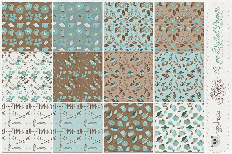 flower-digital-papers-and-seamless-pattern-designs-flora-09-teal-and-brown-flower-floral-patterns-backgrounds