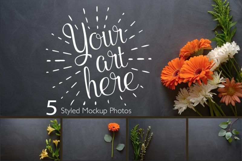 Free Rustic Flower Photo Set On Chalk (PSD Mockups)
