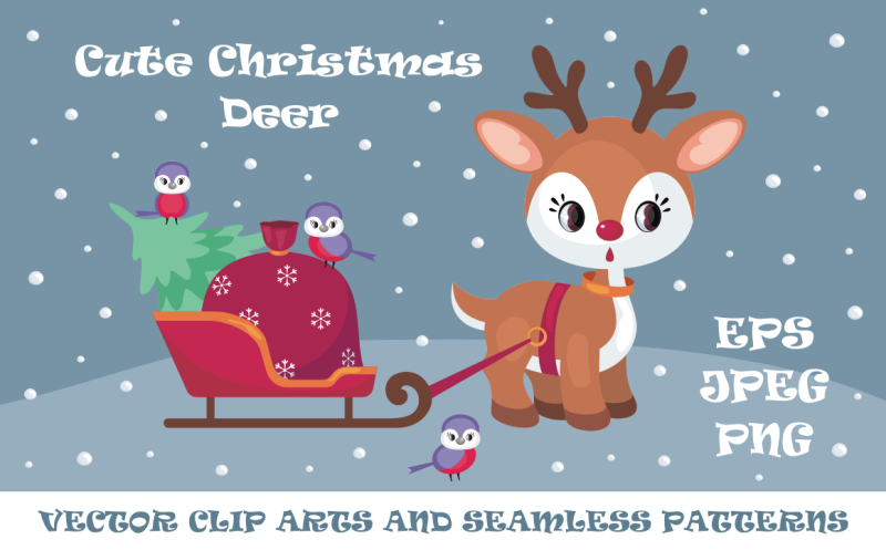 cute-christmas-deer-vector-clip-arts-and-seamless-patterns