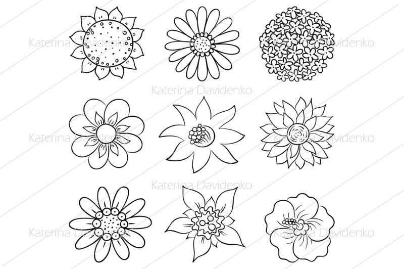 cartoon-hand-drawn-flowers
