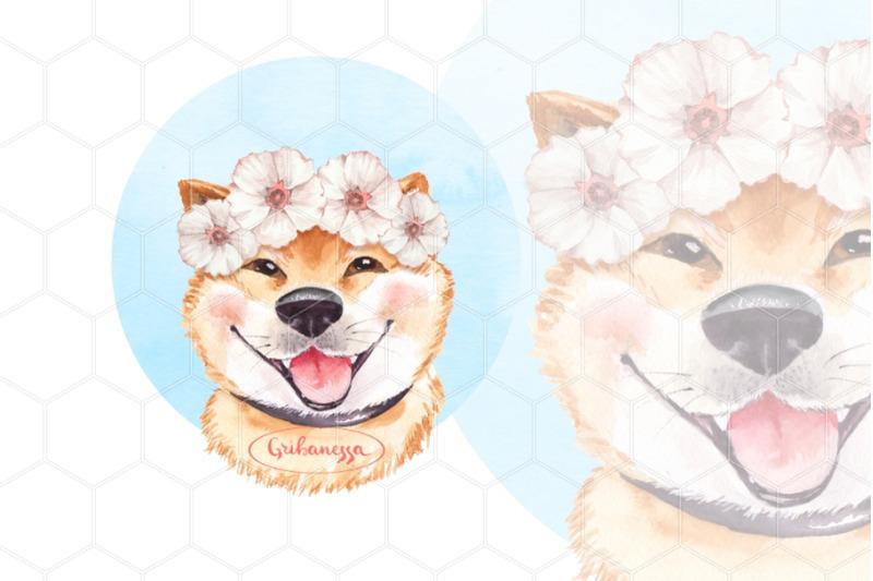 watercolor-dog-in-wreath