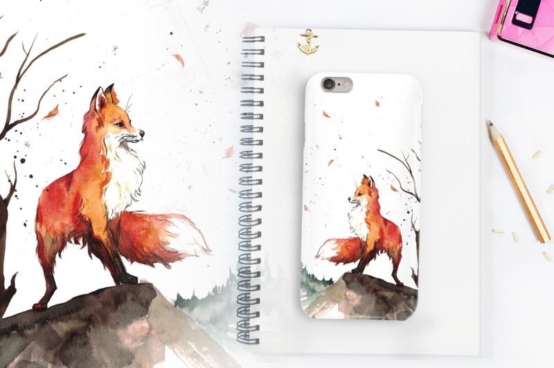 watercolor-fox