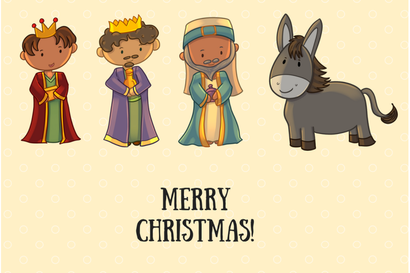 Christmas Nativity Collection By Keepin It Kawaii Thehungryjpeg Com