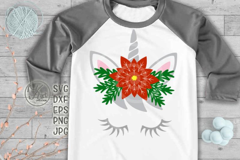 unicorn-face-unicorn-eyelashes-christmas-unicorn-svg-cutting-design-unicorn-with-flowers-poinsettia-flower-girl-christmas-svg-christmas-design