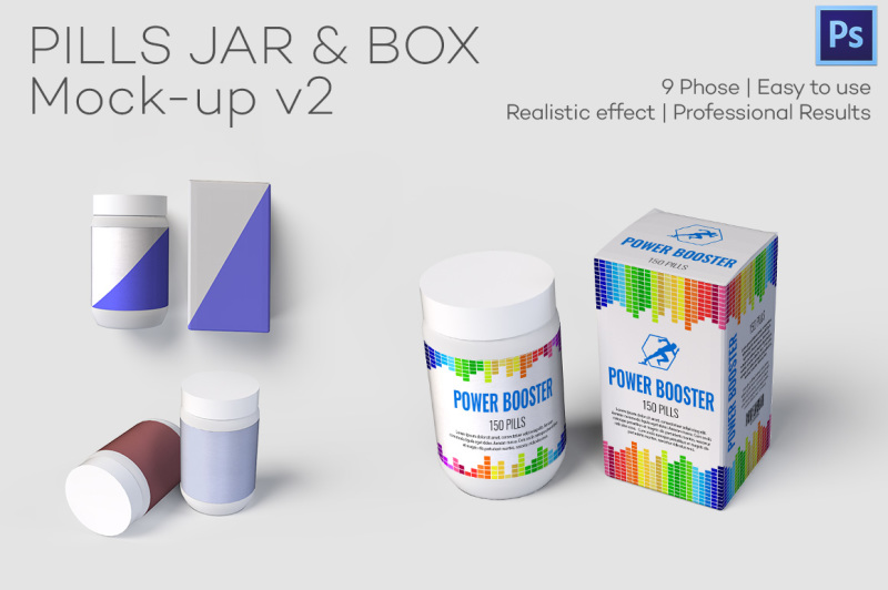 Free Pills Jar & Box Mock-up v2 (PSD Mockups)