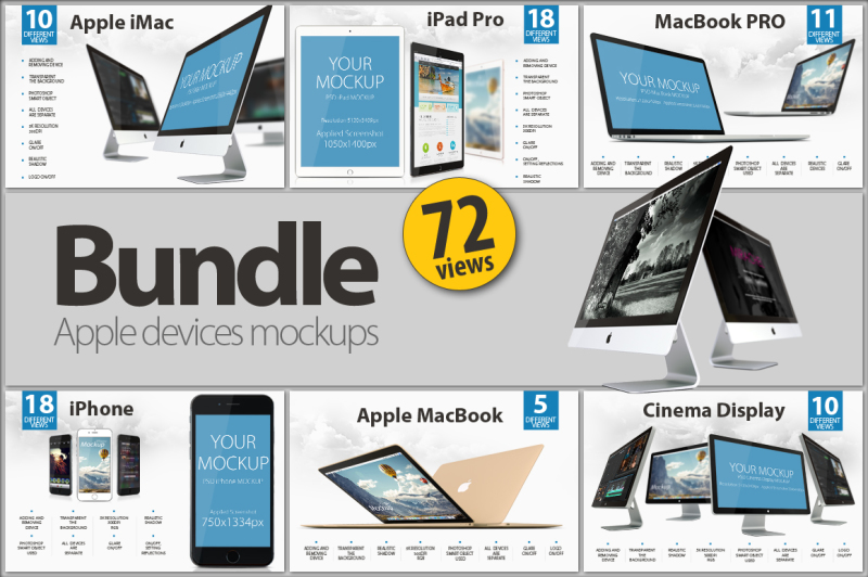 Free BUNDLE Apple devices mockups (PSD Mockups)
