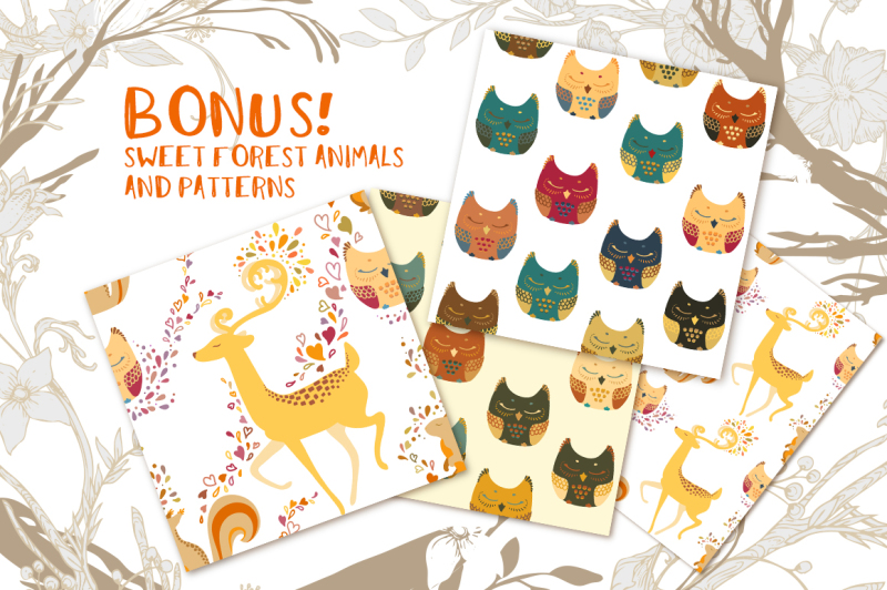 cute-foxes-and-forest-patterns
