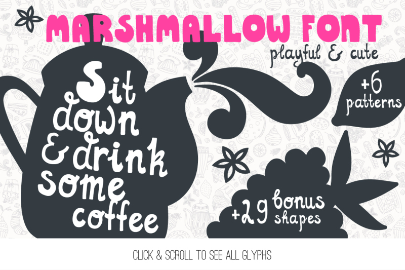Marshmallow Cute Handdrawn Font By Favete Art Thehungryjpeg Com