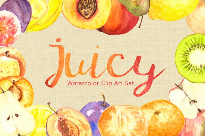 watercolor-juicy-fruit-clip-art-set