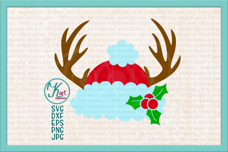 deer-antlers-christmas-svg-antlers-santa-hat-svg-holly-berry-svg-antlers-santa-hat-iron-on-santa-hat-monogram-svg-antlers-christmas-svg