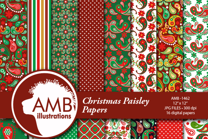 paisley-digital-papers-shabby-chic-vintage-christmas-papers-red-and-green-floral-pattern-scrapbooking-papers-amb-1462