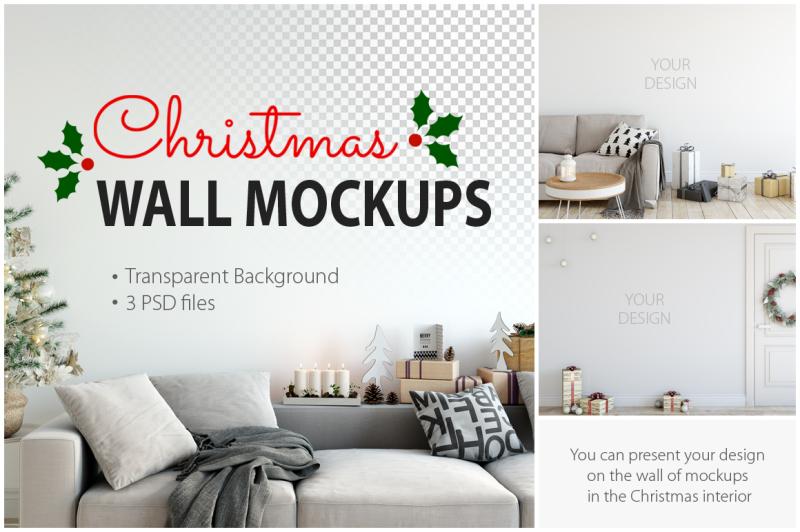 Free Christmas Wall Mockups (PSD Mockups)