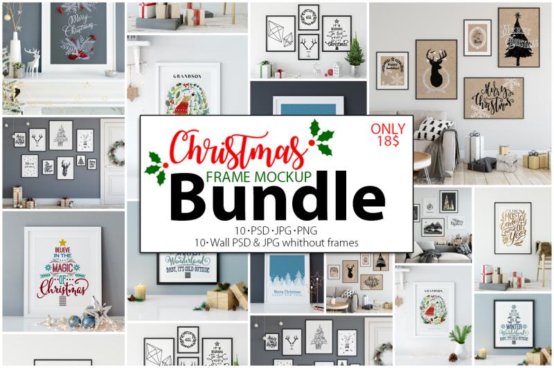 Free Christmas Frame Mockup Bundle (PSD Mockups)