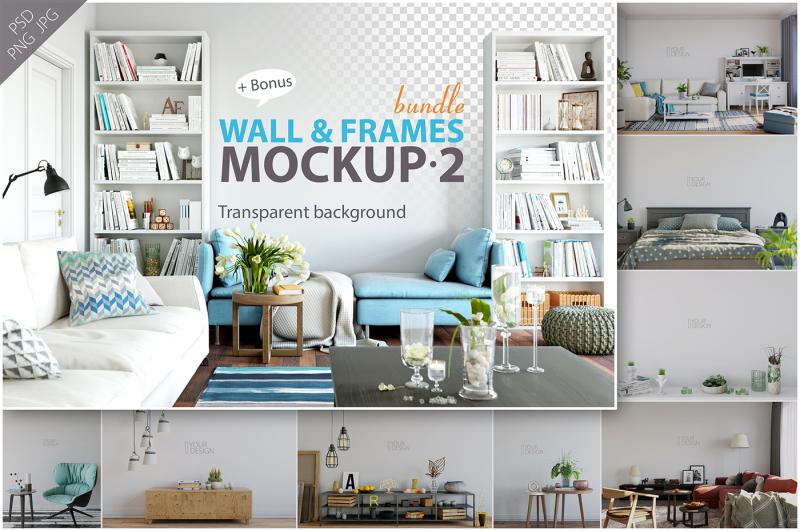 Free Wall & Frames Mockup - Bundle Vol. 2 (PSD Mockups)