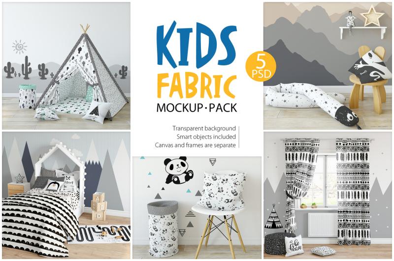 Free KIDS Fabric Mockup Pack - 1 (PSD Mockups)