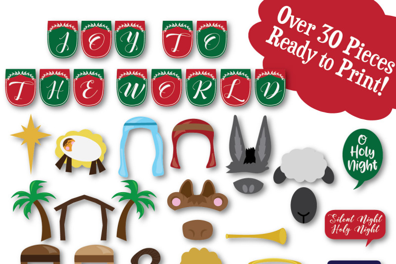Christmas Nativity Photo Booth Props Svg Cut File Dxf Png