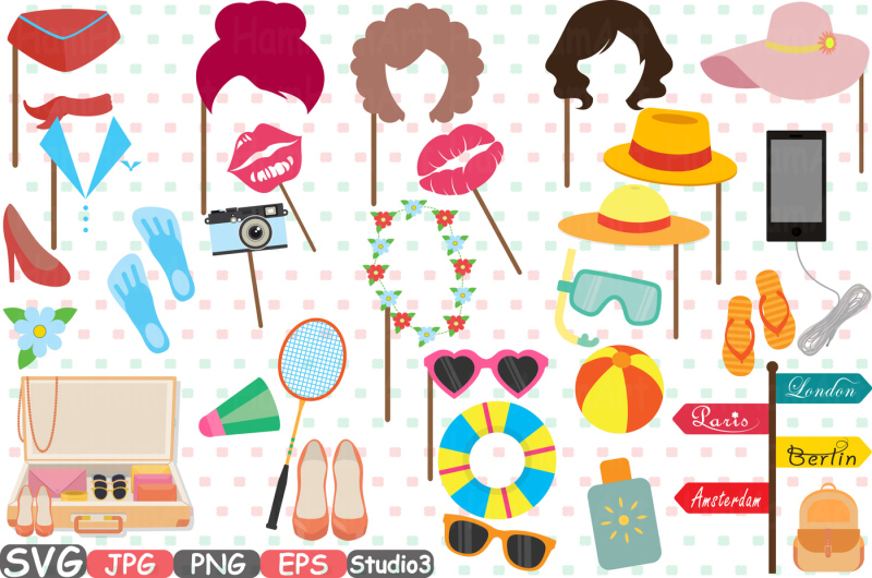 travel-party-props-v1-mask-holidays-booth-party-birthday-silhouette-clipart-bunting-cutting-files-digital-svg-eps-png-jpg-vinyl-sale-213s