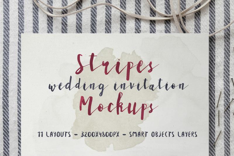 Free Stripes Wedding Invitation Mockup (PSD Mockups)