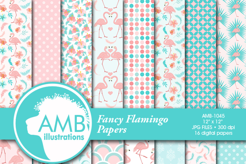 flamingo-patterns-flamingo-papers-pink-flamingos-tropical-scrapbook-papers-amb-1045
