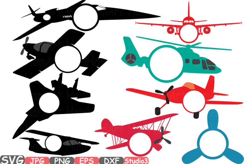 Patriotic Planes Silhouette Cutting Files Airplane
