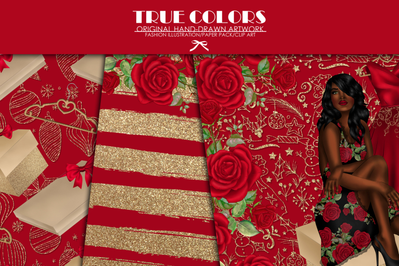 afro-american-princess-digital-paper-christmas-black-beauty-digital-paper-african-american-woman-digital-paper-pack-gold-glitter-gold-foil