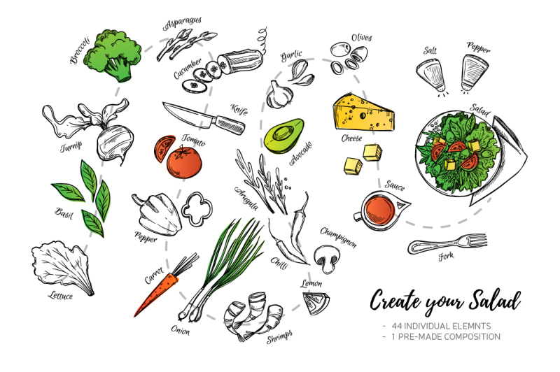 create-your-salad-illustrations