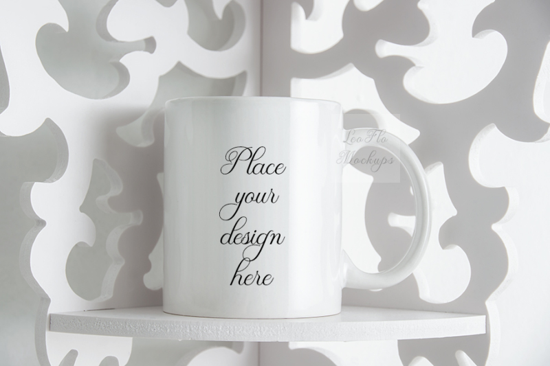 Free Monochromatic coffee mug mock up white cup template elegant background (PSD Mockups)