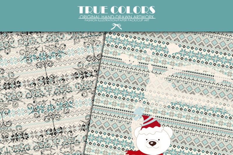 north-pole-christmas-digital-paper-pack-teddy-bear-digital-paper-pack-nordic-pattern-paper-pack-christmas-tree-digital-paper-pack-blue-paper