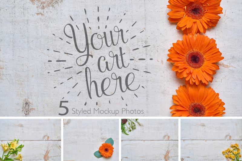 Free Rustic Flower Photo Set On White Wood (PSD Mockups)