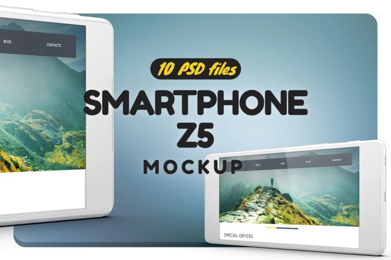 Free Smartphone Z5 Mockup (PSD Mockups)