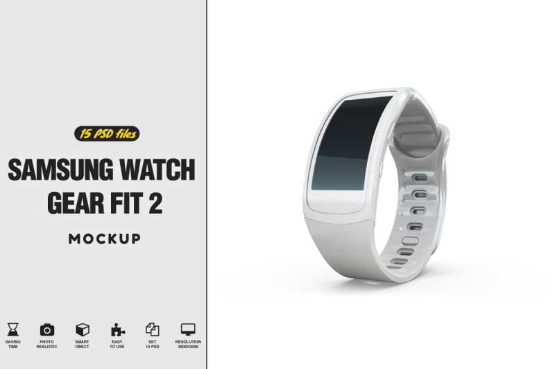 Download Samsung Watch Gear Fit Mockup Free Mockups