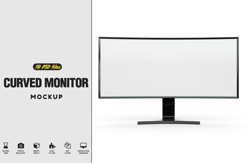 Free Curved Monitor SE790C Mockup (PSD Mockups)